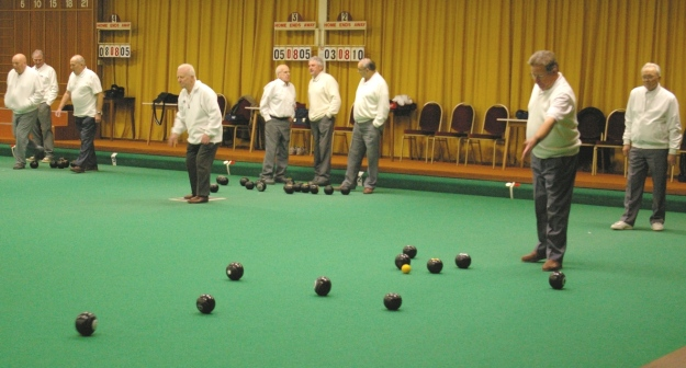Action during a league match at Ryedale Indoor Bowls Club, Malton